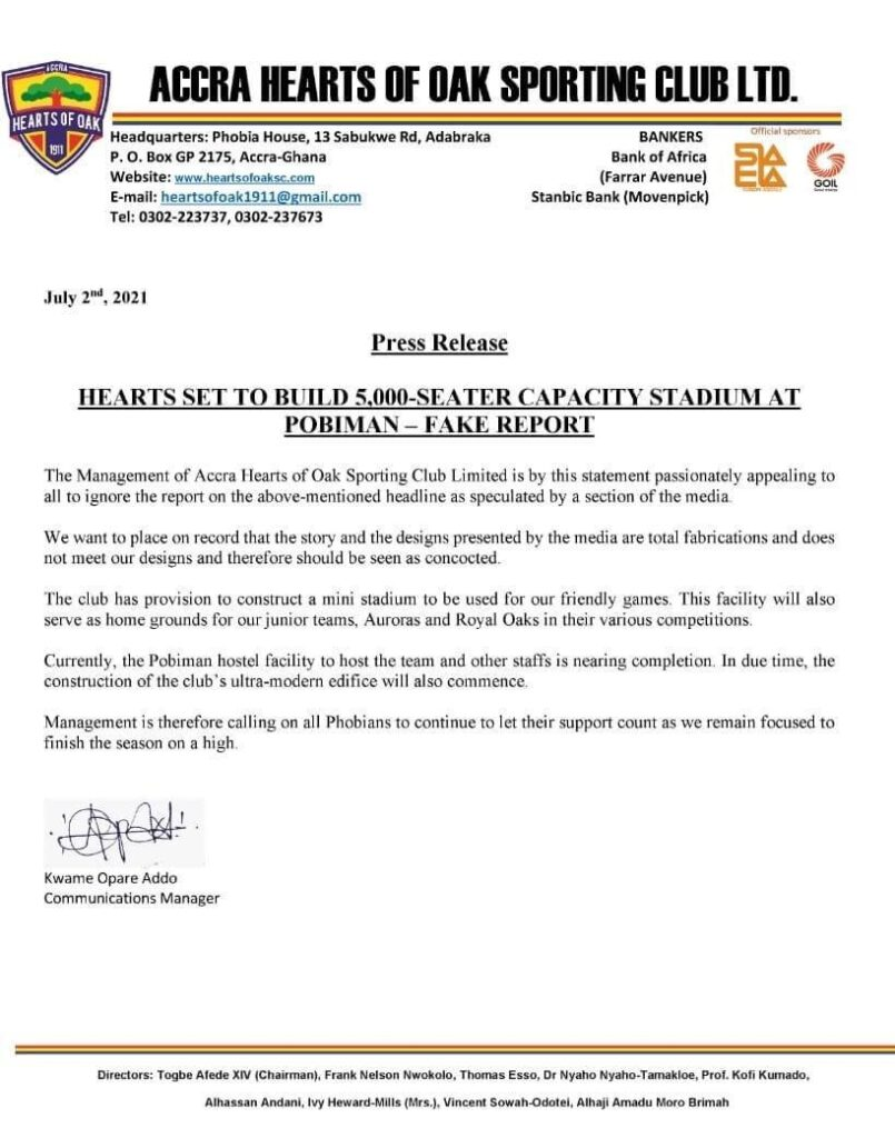 WhatsApp Image 2021 07 02 at 9.55.17 AM 805x1024 - Hearts of Oak rubbishes 5,000 seater stadium at Pobiman proposal reports